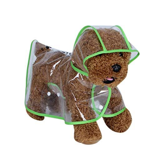 Qinghengyong Cucciolo Bello Pet Impermeabile Trasparente Impermeabile Eva Impermeabili Vestiti della all'aperto Cane Mantello Incappucciato Vestiti Verde