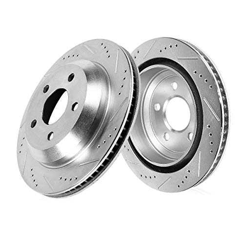 Callahan CDS03502 REAR 330.32mm Drilled & Slotted 5 Lug [2] Rotors [ fit BMW 528 535 Series Active Hybrid 5 ]