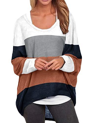ZANZEA Mujeres Jerseys Irregular Manga Larga Raya Camiseta Baggy Jumper Pullover Casual Tops Suéter Suelta como Picture1 M