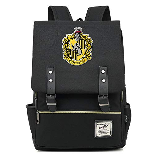 MMZ Harry Potter Backpack Hufflepuff School Bag Ladies Youth Children Travel Backpack Large Black