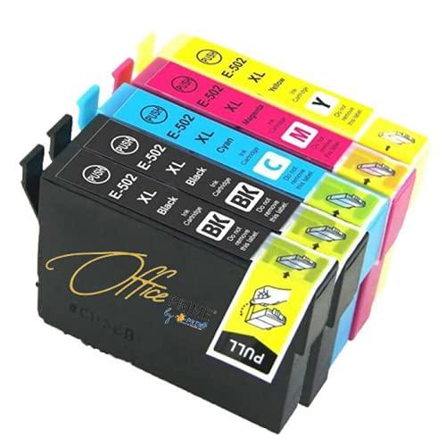 Office Prime - Pack de 4 cartuchos compatibles con Epson 502 XL (Jumelle) BK/C/M/Y