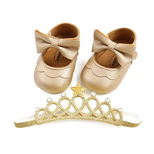 Bebé niña bautizo infantil Bowknot princesa antideslizante suela suave prewalker, Gold Set2, 12 Meses