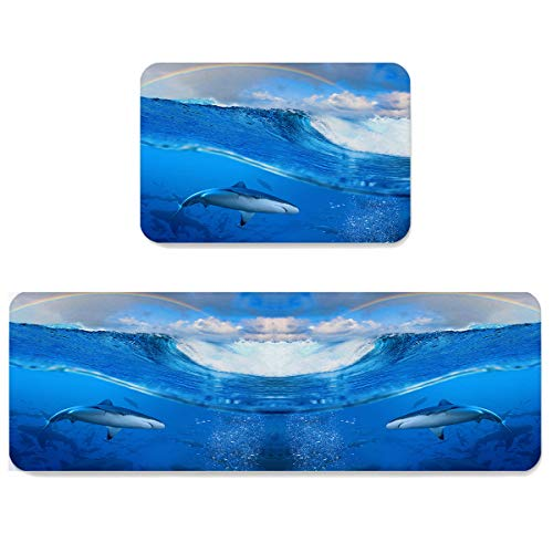 Futuregrace Doormats with Non-Slip Rubber Backing Absorbent Oil Proof Kitchen Rug, The Fish Swimming in The Sea 2pcs Kitchen Mats Sets for Entrance Home Decoration, 23.6x35.4in+23.6x70.9in