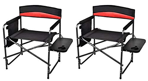 Grepatio Portable Folding Camping Chairs Set of 2, Aluminum Frame Director Chairs with Side Table, Cup Holder, Storage Bag - Supports 330LBS