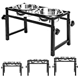 SCENEREAL Adjustable Raised Pet Bowls - for Dogs and Cats - Elevated Stainless Steel Pet Feeder with 2 Bowls, Available in 16 inch, 11.8 inch, 6 inch for Small Medium Large Dogs