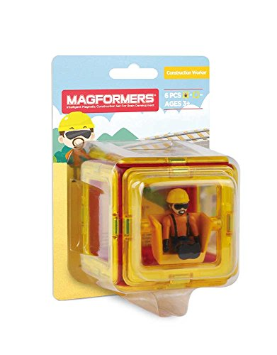 Magformers Construction Character 6 Pieces Add on, Rainbow Colors, Educational Magnetic Geometric Shapes Tiles Building STEM Toy Set Ages 3+