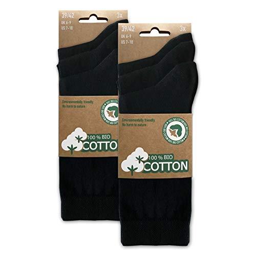 BIOBASICS Herren und Damen 100prozent BIO Baumwolle Socken Sensitiv Komfortb& Business-Socken Ges&heitssocken ohne Gummi (6 Paar) Schwarz 43-46
