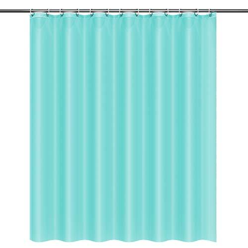 Htovila Duschvorhang 180x180 Anti-Schimmel Wasserdicht mit 12 Duschvorhangringe aus Waschbar Polyester Hellblau