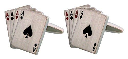 Unbekannt Manschettenknöpfe Spielkartenblatt silbern matt + rot schwarz gelackt inkl. Geschenkbox