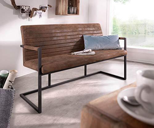DELIFE Essbank Earnest Braun Vintage 140 cm mit Armlehne Gestell Metall Sitzbank