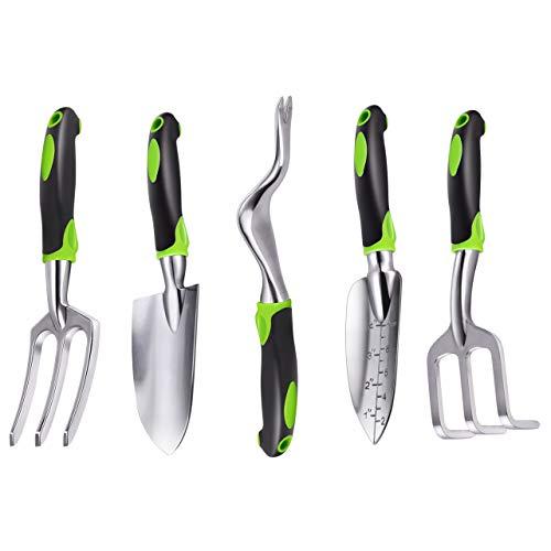 ZUZUAN Garden Tool Set 5PCS Aluminum Heavy Duty Garden Hand Tool Kit Includes Hand Rake Trowel Transplant Trowel Weeder and Cultivator Hand Rake with Ergonomic Handle