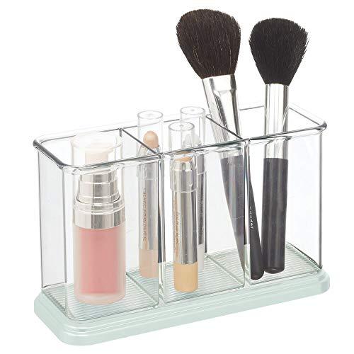 mDesign Praktische Make-up Organisator – Decoratieve Cosmetische Organisator voor Nagellak en Poeder – Make-up Opslag met 3 vakken Clear/Mint