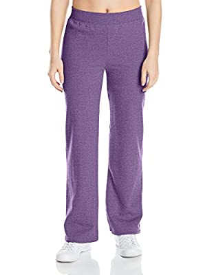 Hanes womens ComfortSoft EcoSmart Women's Petite Open Bottom Leg Sweatpants Violet Splendor Heather X-Large
