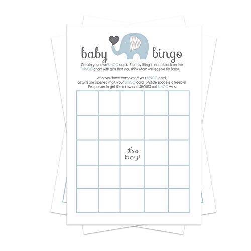 Blue Elephant Baby Shower Bingo Game Pack (25 Cards) Guests Fill-In Blanks with Gifts Guesses - Boys Little Peanut Theme – Cute Sprinkle Activities – Favors