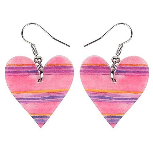BAc Acrylic Valentine's Day Pink Heart Pendientes Que cuelgan Sweet Love, Mujeres, Damas, Brincos, Multicolor