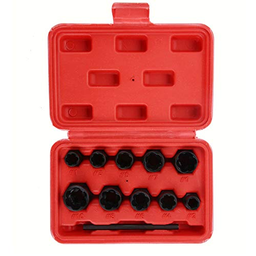 Bolt Impact & Dado Remover Set 11 pezzi, Dado estrattore Socket, Bolt Remover Tool Set (Red Box)