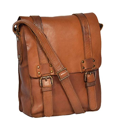 Real Leather Cross Body Messenger Bag Rust DRLB130