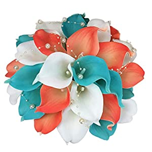 Lily Garden Real Touch Calla Lily Coral and White and Carnation Turquoise Flowers Wedding Bouquet (Wedding Bouquet Lilies)