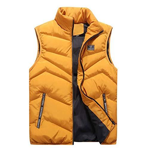 Estrella-L Chaleco sin mangas para hombre acolchado y plumón para hombre, chaleco abrigo/resistente al viento, para aliviar el dolor, senderismo, pesca, camping, caza, amarillo, XXXL