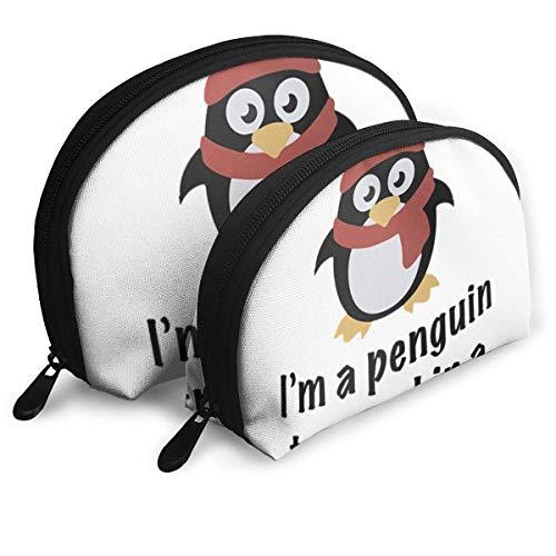 Shell Shape Kosmetiktasche -I 'M EIN Pinguin in einem menschlichen Körper gefangen - Tragbare Taschen Clutch Pouch Aufbewahrungstasche Damen Handtasche Organizer Mit Reißverschluss 2St