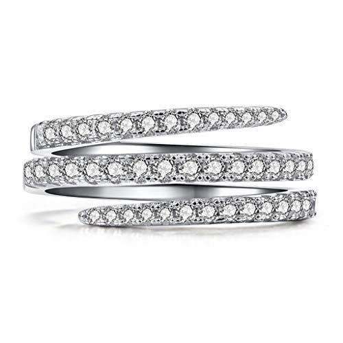 Janly - Anillo de plata para mujer, diseño de diamante de novia, elegante, anillo de compromiso, anillo de boda, tamaño 5-10, día de San Valentín