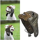 M I A Sombrero fresco para perro, gorra de aviador de maquillaje para mascotas, disfraz creativo de cosplay para perro gato animal (color: marrón oscuro, tamaño: S)