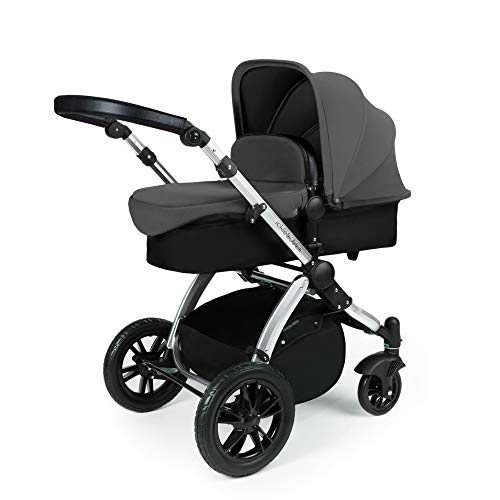 Ickle Bubba Stomp V3 2-in-1 Carrycot & Pushchair Travel System (Grey with Black Handles, Silver Chassis)