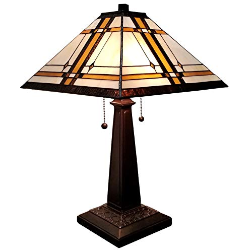Amora Lighting Tiffany Style Table Lamp Banker Mission 22' Tall Stained Glass White Tan Brown Antique Vintage Light Decor Nightstand Living Room Bedroom...