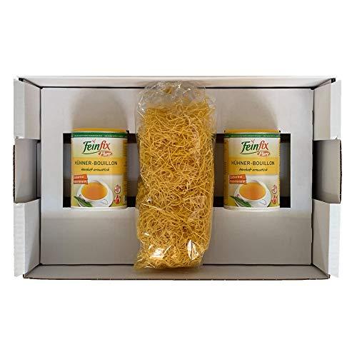 Feinfix 2x Pure Hühner Boullion 225g für 9 Liter Suppen-Brühe inkl. Nudeln 250g