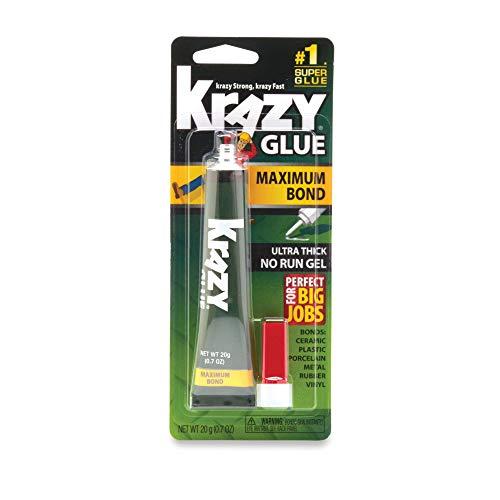 Krazy Glue Maximum Bond Super Glue, No-Run Gel, 20 Grams