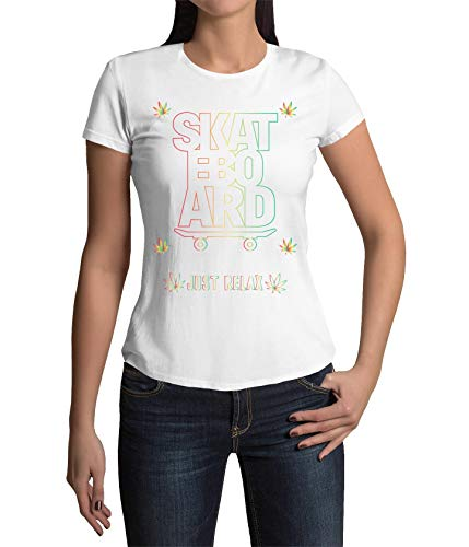 Okdok Damen T-Shirt Just Relax Skateboard Lovers Design Bekleidung Gr. XXL, weiß