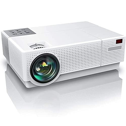 DOOK Proyector Cine en Casa 8000 Lúmenes, Proyector LCD Full HD Nativo 1080P, Corrección Trapezoidal 4D de ± 50 °, Soporte 4K 300' Proyector Doméstico para Teléfono Inteligente/PC/TV Box/PS4