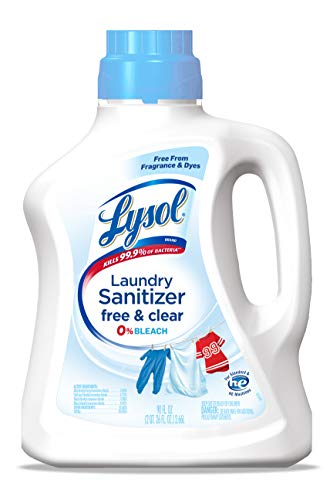 Lysol Laundry Sanitizer Additive, Free & Clear, 90 Oz, Free from Fragrance and Dyes, 0% Bleach Laundry Sanitizer, bacteria-causing laundry odor eliminator