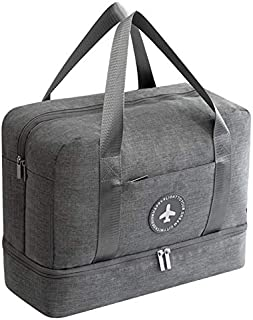 TOOGOO New Cationic Fabric Waterproof Travel Bag Large Capacity Double Layer Beach Bag Portable Duffle Bags Packing Square Weekend Bags,Grey