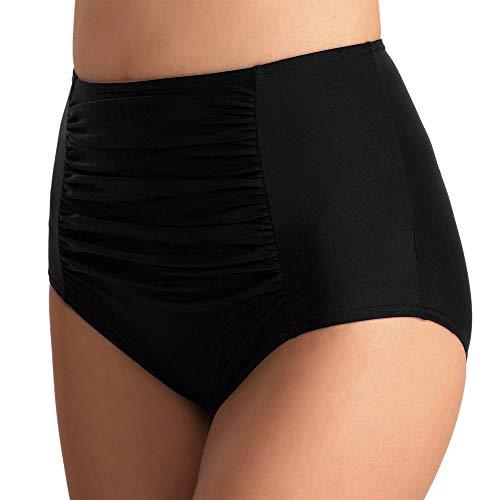Vertvie Bas de Maillot de Bain Femme Plié Taille Haute Culotte Tanga Thong Panty Bikini Slip de Bain Brésilien Vintage Bikini Sexy Amincissant (M, Noir)