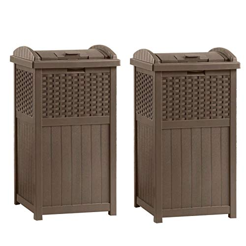 Suncast GHW1732 15.75' x 16' x 31.6' Trashcan Hideaway Outdoor Commercial 33 Gallon 31.6' Resin Garbage Waste Bin with Lid in Brown for Garage, 2 Pack