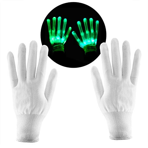 SKL Light Up LED Skeleton Hand Gloves Par de 1 Color Verde Guante LED para Clubs Raves Festivales Halloween Bonfire Night Party Games