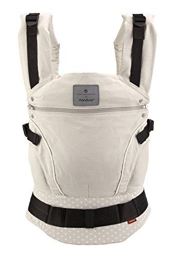 manduca First > WildCrosses sand < Portabebé ergonómico de algodón orgánico con cinturón de cadera y extensión de espalda, para bebés y niños pequeños de hasta 20 kg, arena con cruces blancas