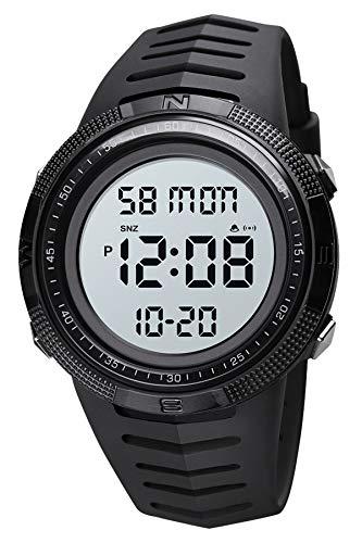 Herren Digitaluhr Militär Sportuhren für Männer 5 ATM Wasserdicht mit Hintergrundbeleuchtung Schwarz Uhr Digital Outdoor Stoppuhr LED Licht Armbanduhr mit Wecker Chronograph Countdown
