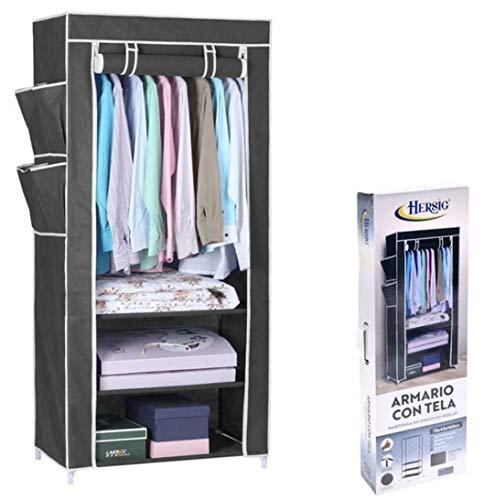 HERSIG Armario de Tela ropero Estante Lona Ropa guardarropa Closet 160x75x45cm/ 63116