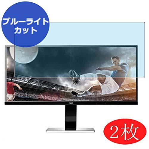 【2 Pack】 Synvy Anti Blue Light Screen Protector for AOC AOC U3477 / U3477PQU-B-R 34' Display Monitor Anti Glare Screen Film Protective Protectors [Not Tempered Glass]