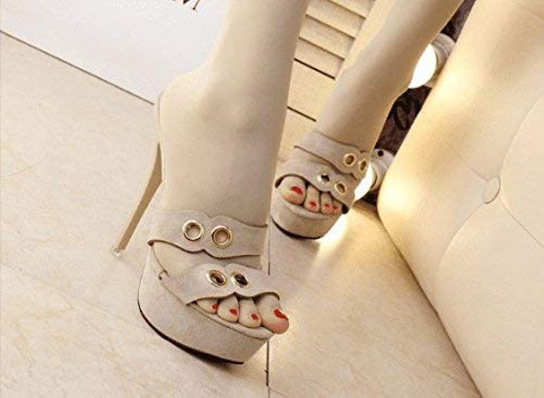 HhGold Sommer Frauen Flip-Flops Fein mit hohem Absatz wasserdicht (Farbe   Aprikose, Gre   5.5 US 35.5 EU 3 UK)