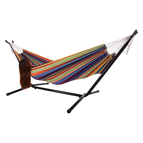 Celendi Hammock Patio Yard and Beach Double Hammock with Space Saving Steel Stand for Patio, Backyard, Porch, Outdoor and Indoor Use - Soft Woven Cotton Fabric Hammocks with Portable Carrying Bag (B)