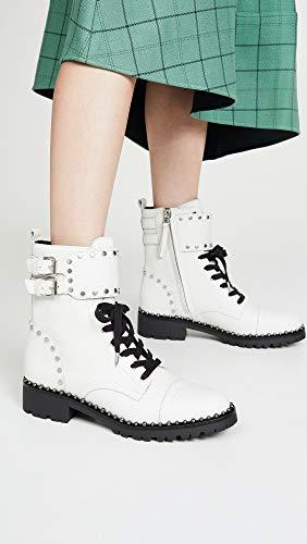 Sam Edelman Women's Jennifer Combat Boot, Bright White Leather, 8.5 Medium US