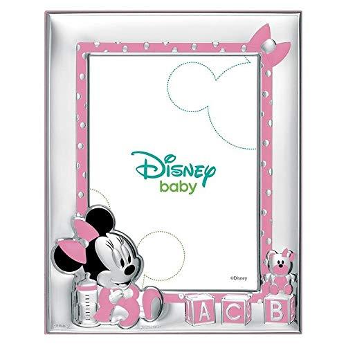 Marco Portafotos Plata Ley 925M Disney Foto 9X13Cm. Minnie Bilaminado Baby Cubos Rosa