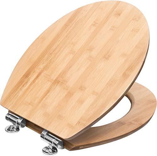 """Cornat WC-Sitz \""""Ligna Plus\"""" - Hochwertiges Echtholz - Bambus - Absenkautomatik - Komfortables Sitzgefühl - Edle Holz-Optik passt in jedes Badezimmer / Toilettensitz / Klodeckel / KSLIGBSC"""
