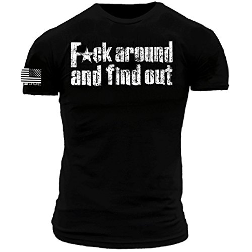 FCK Around and Find Out Distressed Premium Athletic Fit T-Shirt (Medium) Black