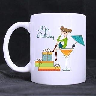 Coffee Mug Ceramic Cup Gifts 11 Ounces Birthday Funny Happy Birthday Cartoon Cute Girl(Twin Side)