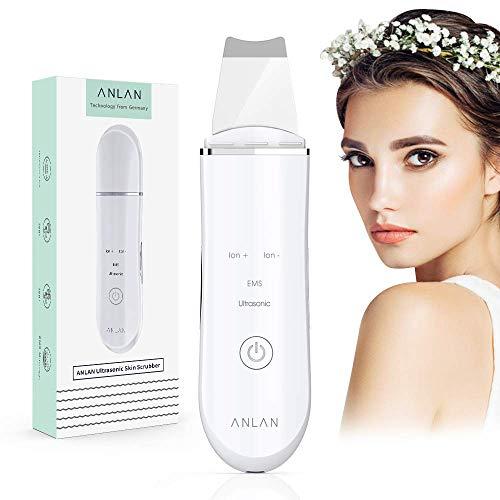 Ultraschallpeelinggerät ANLAN Skin Scrubber, Ultraschall-Peeling Porenreiniger Akne-Entferner Ionen Hautreiniger für Gesichtsreinigung Gesichtspflege(Weiß)