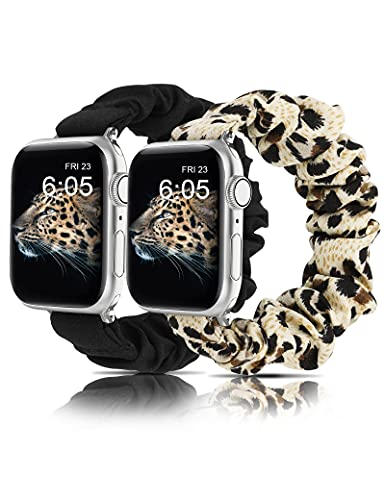 Wearlizer 2 Packs Slim Watch Band Compatible with Scrunchies Apple Watch Band 38mm 40mm Cute Pattern Printed Fabric Starp Women Elastic Stretchy Band for iWatch Series 6 5 4 3 2 1 SE(Black/Leopard L)